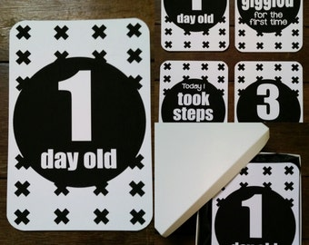 Baby Milestone Cards - Monochrome Crosses - DISCONTINUED - ON SALE!