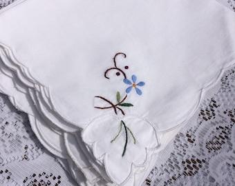 Vintage, Embroidered Table napkins set of 4 or 8