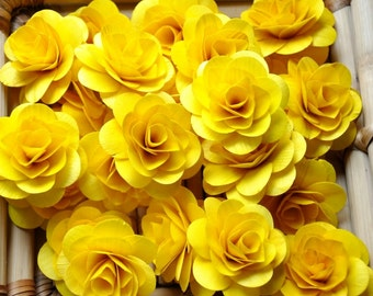 150  Pcs Yellow Birch Wood Roses for Weddings, Home Decorations, Scrapbooking and Floral Arrangements