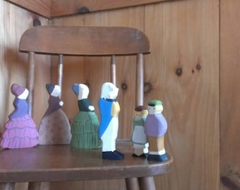 aunt green, brown, lavender and uncle blue- waldorf dolls (elsa beskow) /waldorf nature table/ doll miniature