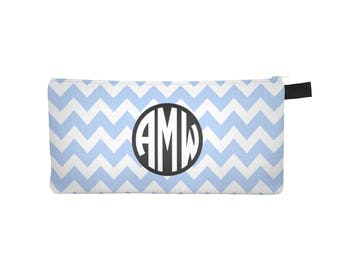 Custom Monogram Pencil Case, Back to School Gift, School Supplies, Zig Zag Pencil Case, Modern Makeup Bag, Custom Name Pencil Case