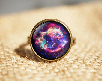 Violet Galaxy rings, Space ring, Space Jewelry, Astronomy Jewelry,Galaxy Stars Planets ring, Universe solar system