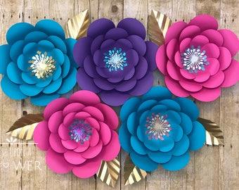 Paper Flowers, Paper Flower Template, Unicorn SVG, Unicorn Flower Template, Paper Flower Wall Decor, Paper Flower SVG, Paper Flower DIY