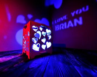 Personalized long distance Gift for Men lighting lamp wood Led tealight candle Led night light lamp Minimalist lamp Love led light wall art