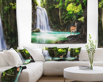 Designart Erawan Waterfall Landscape Photo Wall Tapestry, Wall Art Fit for Wall Hanging, Dorm, Home Decor