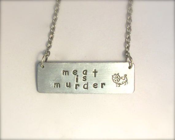 Meat is Murder Cow Necklace-Rectangle-Vegan Necklace-Gift-Birthday-Anniversary-Eco Friendly-The Smiths-Morrissey