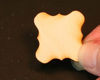 Unfinished Wood Square Scroll - 1 inch by 1 inch and 1/8 inch thick wooden shape (SQSC01)