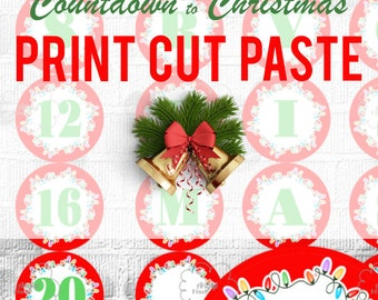 Printable Advent Calendar, Countdown Christmas, Number 1-25 and Letters MERRY CHRISTMAS , DIY red circle label, instant download