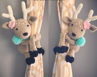 Deer Curtain Tie Backs gift holder plushie