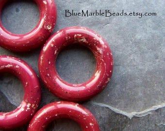 Hoop Bead, Vintage Bead, Marble Bead, Red Bead, Boho Bead, Tribal Bead, Earthy Bead, Organic Bead, Italian Lucite, Lucite Beads, 6 Beads
