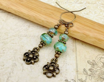Green Earrings, Turquoise Earrings, Charm Earrings, Flower Earrings, Gold Flower Earrings, Unique Earrings, Czech Glass Beads, Gifts for Her