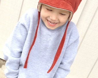 Boy Trapper Hat - Ear Flap Boy Hat - Winter Trapper Hat for Boy - Toddler Ear Flap Cap - Made to Order - Winter Warm Hat for Boys