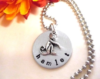 Personalized Monkey Charm Necklace, Monkey Jewelry, Monkey Necklace, Animal Jewelry Custom Jewelry, Custom Gift