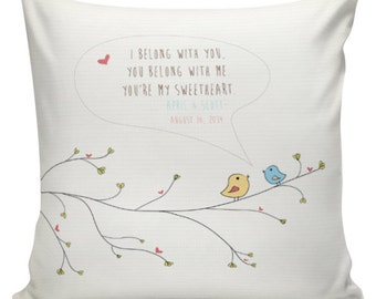 Personalized Pillow, LOVE pillow, Wedding Pillow, Cotton Anniversary, Gift, Cotton and Burlap Pillow Cover Choose your Name and Date #WE0037