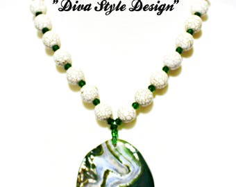 White Magnesite with Forest Green & White Agate Pendant