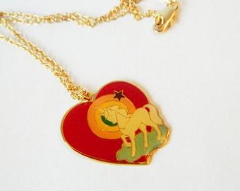Unicorn Rainbow Heart Necklace - NC0032