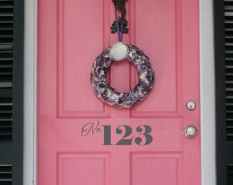 Personalised door number front door sticker decal |Choose any number | Adhesive vinyl DIY | 22 colour choices | WQB13