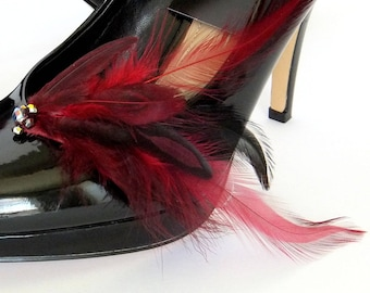 Claret and Black Feathered Jeweled Shoe Clips