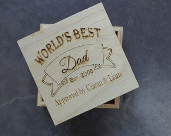 Personalised Engraved Wooden Trinket Box - World's Best Dad Fathers Day Gift