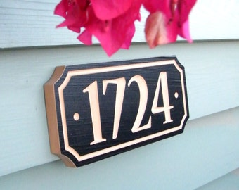 "10"" x 4.5"" House Number Sign, Housewarming Gift, Realtor Gift, Address Sign, House Number, Number Plaque, Carved wood sign"