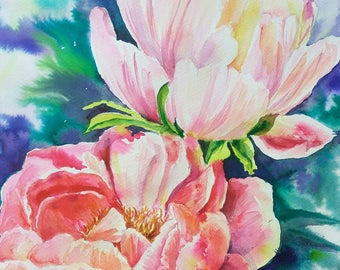 Peach pink Peonies, original watercolor painting, Watercolor flowers art, Original wall art, Garden flowers aquarela, OOAK gift for Her