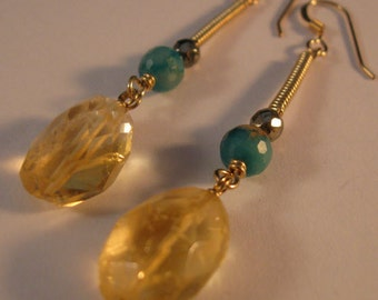 Gemstone Dangle Earrings, drop earrings, gemstone earrings, citrine earrings, gold earrings, dangle earrings, drop earrings