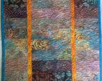 Art Quilt Batik Color wash, Quilted Wall Hanging, Fiber Art Wall Quilt Brown Blue Orange, Home Decor Wall Art