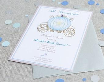 Bridal Shower Invitations with Rhinestone Stagecoach and Slipper - Princess Invitation - Wedding Party Invites - Handmade Invitations