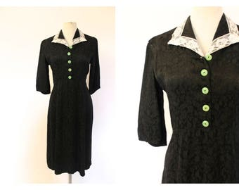 1930's Black Brocade lace collar Shirt Dress
