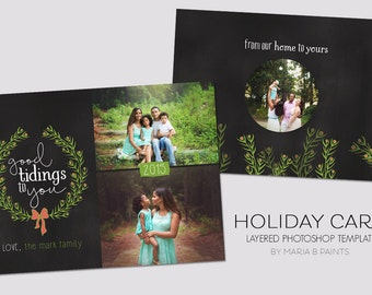Holiday Card Template - 5x7 - Front and Back - Family - Christmas - Good Tidings