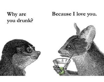 Why Are You Drunk? - Lemur Animal Magnet - Humor - Gift - Stocking Stuffer