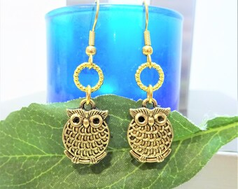 OWL EARRINGS in gold or silver tone - gold or silver plate surgical stainless steel ear wires - hypoallergenic, sensitive ears ear wires