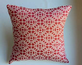 Modern Geometric Decorative Pillow Cover in Red from Jaclyn Smith Home Collection with Trend Fabrics