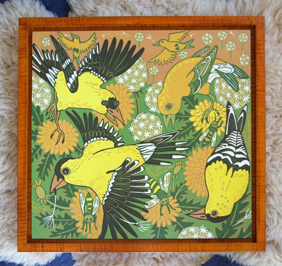 Goldfinch, colorful wall art, woodcut, framed in yellow curly maple ...