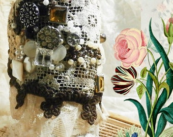 Fabric Wrist Cuff, Steampunk Bracelet,  Boho Velvet and Lace, Heavily Embellished