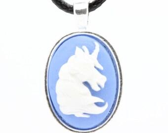 Unicorn resin cameo PENDANT. Blue