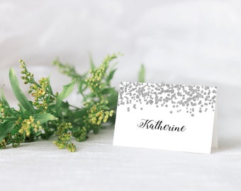 Personalised Wedding Table Place Name Seating Cards Silver Confetti