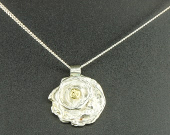 Water Cast Necklace with a Gold Nugget