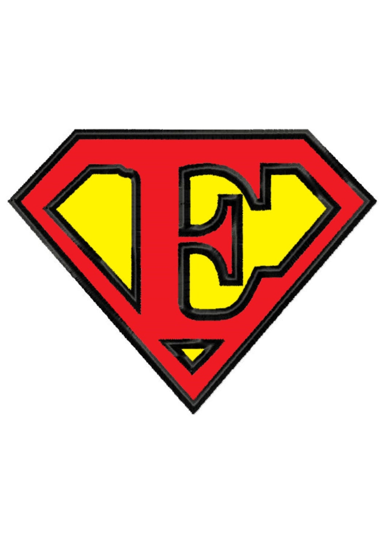 Superman Buchstaben E... Applikation Maschinenstickerei DESIGN