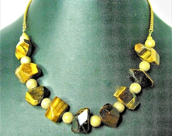 Brown Tiger Eye Stone Necklace With Gold Filigree Rounds And A Goldtone Chain - Item 873 N