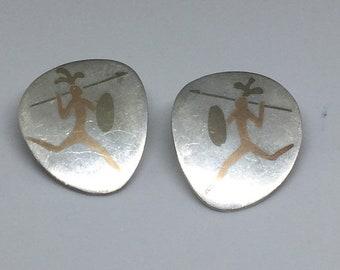 2018 Metales Castillo 925 Copper Inlay Warrior Earrings
