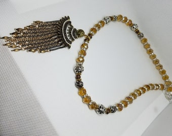 Beaded gold & bronze necklace with pendant