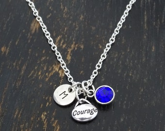 Courage Necklace, Courage Charm, Courage Pendant, Courage Jewelry, Survivor Necklace, Courageous Necklace, Motivational Necklace, Inspire