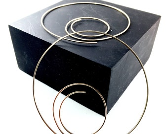 3 Inch GOLD Hoops / Large Earrings /  Big Hoops /  Nickel Free Wire Hoops No.00E207