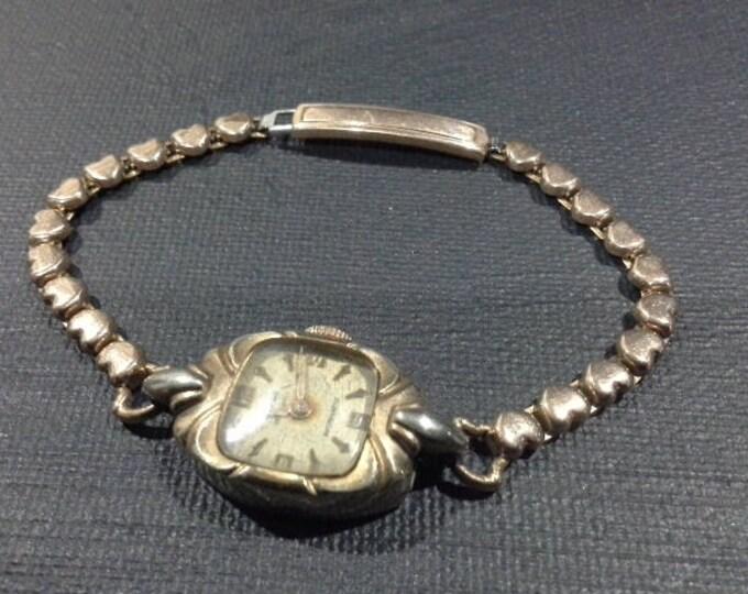 Vintage Renown Gold Filled 15 Jewel Ladies Wrist Watch Stamped Handley Swiss Made c 1958 AF