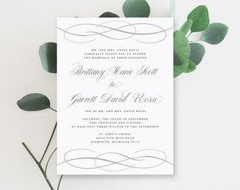 Printable Wedding Invitation Suite | The Brittany Collection in Black & White or Custom Colors | Classic | Elegant | PDF or Printed Invites