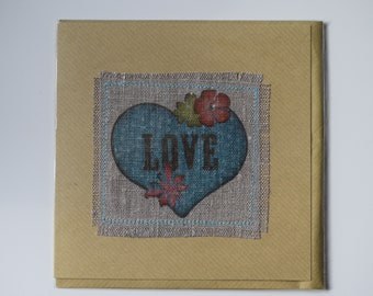 Blue heart on fabric card