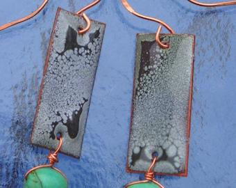 "ENAMEL Rectangle EARRINGS with Drop Turquoise Bead 2-1/2"" x 5/8"""