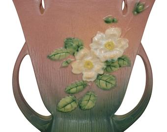 Roseville Pottery White Rose Pink Vase 987-9