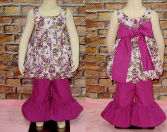 Girl Outfit, Floral Bubble Style Top And a Magenta Ruffle Pant, Top and Ruffle Pant Girl Set, Girl Fall Outfit, Toddler Outfit, Flower Top